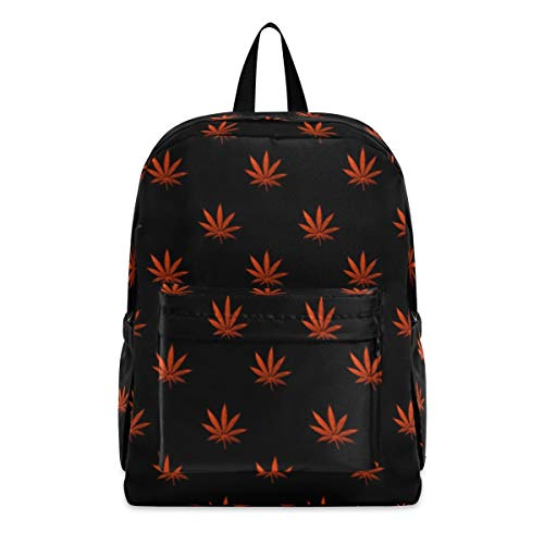 Red Cannabis Leaf Fashion School Backpack Lightweight Travel Laptop College Bookbag