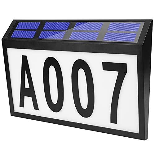 House Numbers Address Sign, Solar Powered Address Plaque, Led House Number Sign, Address Number Solar Address Sign Light Up for Outdoor Walls, Courtyards, Streets, etc