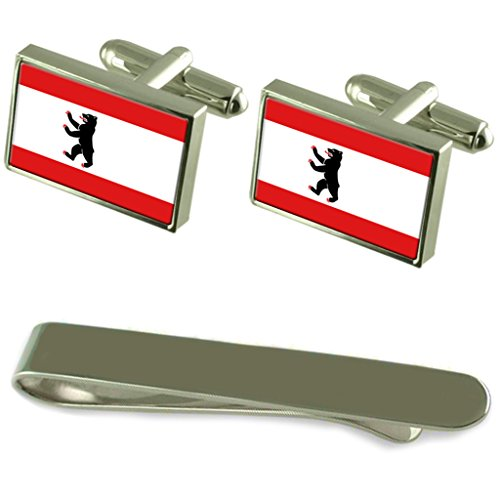 Die Flagge Berlin Silber Manschettenknöpfe Krawatten Clip Box Set
