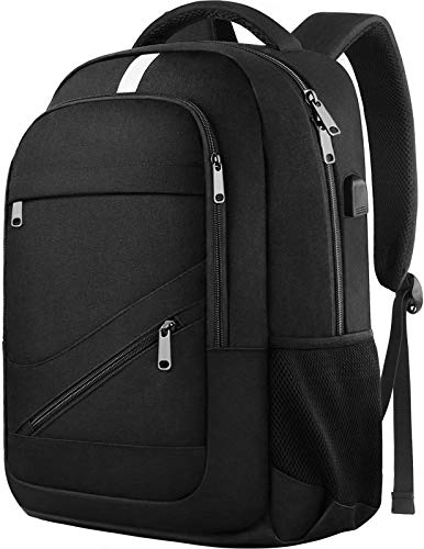 College Laptop Backpack, Durable School Bookbags for Men Women with USB Charging Port, Mancro Business Travel Anti Theft RFID Water Resistant Backpack Fits 15.6 Inch Laptop and Notebook, Black