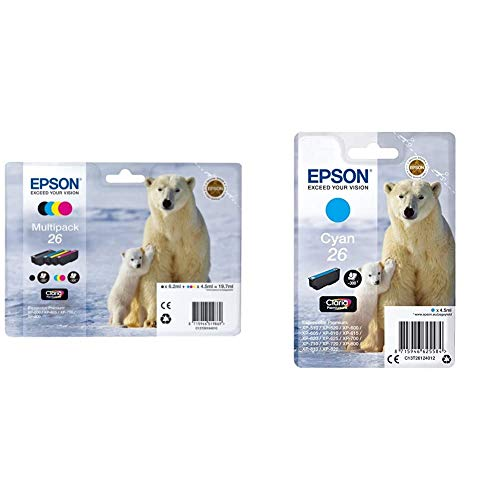 Epson C13T26164010 - Pack de 4 Cartuchos, Multiples + C13T26124010 - Cartucho de Tinta, Cian válido para los Modelos Expression Premium