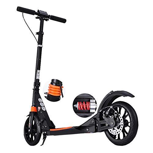 Tretroller Kickscooter Faltbarer, Verstellbarer rutschfestem PU-Rad, Doppel-Stoßdämpfer-Roller für Erwachsene mit Scheibenbremse und Handbremse, 100 kg Last