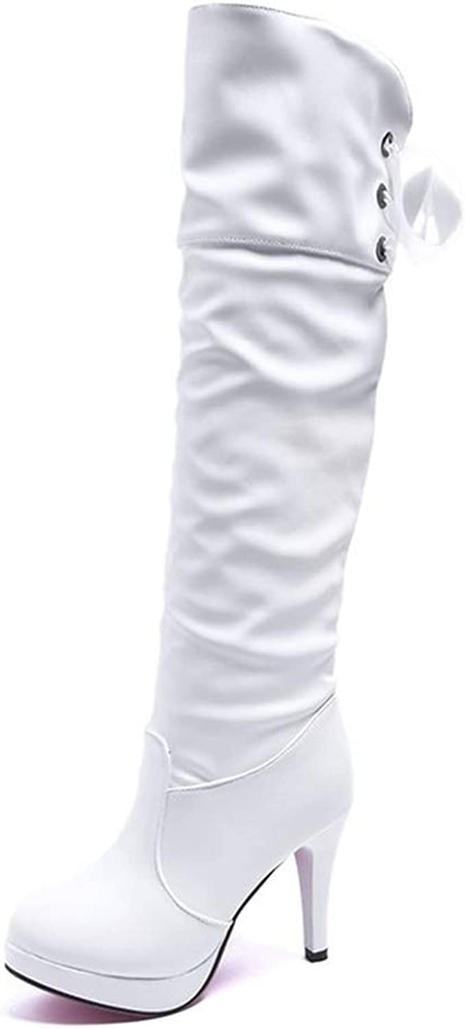 Hoxekle Knee High Boot High Fine Knee Heel Women Round Toe Concise Black White color Platform Long Boots