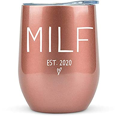 """New Mom Gifts """"Milf est 2020"""" - 12oz Wine/Coffee Tumbler/Mug - Funny Gift Idea for First Time Mom, Women, Basket, Mommy, Pregnancy, Push, Baby Shower Gifts, Glass, Mom to Be by"""
