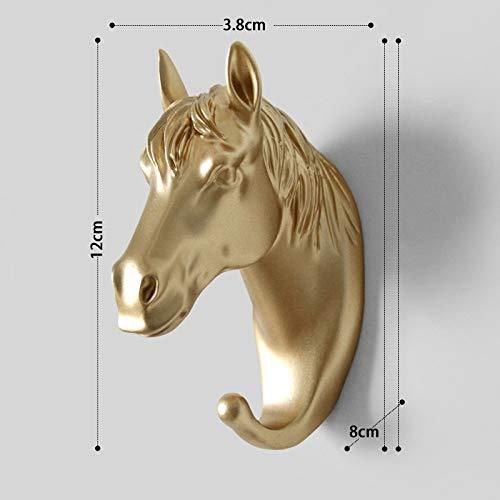 DIAOSUJIA sculptuur, 3D goud paard beeld muurdecoratie hars sculptuur deursleutel kledinghanger decoratie accessoires dier figuur muurschildering