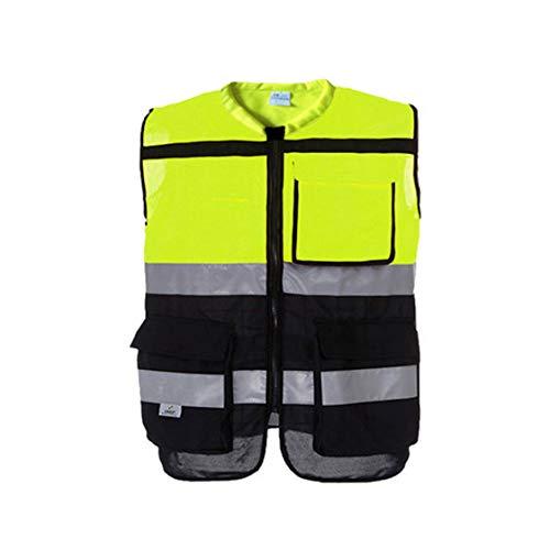 MLX Radfahren Reflektierende Weste, Reflektierende Jacke, New Jersey, Motorrad Reflektierende Sicherheitsbekleidung (Farbe : Fluoreszierendes Gelb, größe : M)