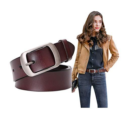 Women Cowhide Leather Belts Coffee Leather Waist Belt for Jeans,31-37