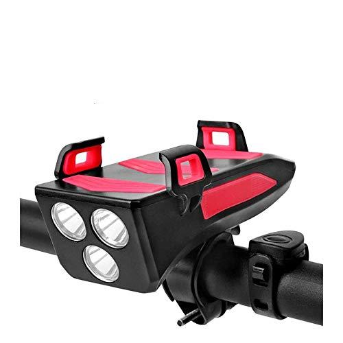 Luz Bicicleta Recargable USB 4 en 1 Luces Bicicleta Impermeable Linterna Bicicleta con Soporte para Teléfono 4000mAh 3 Modos 250 Lúmenes Luz de Bicicleta LED con Bocina para Carretera y Montaña