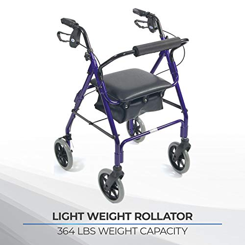 Days Lightweight Aluminum Rollator Adjustable Rolling Walker with Seat for Elderly Disabled Limited Mobility Patients Walking Stabilizer with Four Wheels 364 lb Weight Capacity