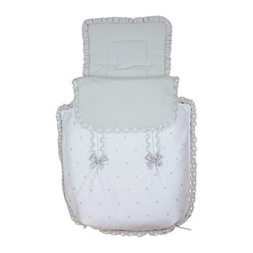 Rosy Fuentes - Saco para Capazo - 11 x 50 x 60 cm - Saco para Capazo Universal - Saco Carrito Bebé - Fabricado en Piqué - Bonito Diseño - Resistente y Duradero - Color Blanco/Gris