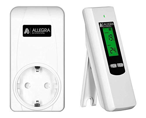 ALLEGRA Thermostat Steckdose Steckdosenthermostat Steckerthermostat Frostwächter Funkthermostat für Infrarotheizung Heizlüfter Heizung Klimaanlage Funk Temperaturregler mit Fernbedienung (T21)