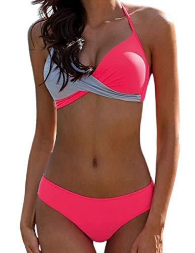 Bikini Elegante Traje de Baño Conjunto Bañador Halter Sexy Sólido para Mujer Ropa de Playa Traje de Baño Bikini Sets Talla Grande (Rosa, XL)