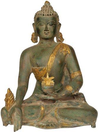 Exotic India ZDN20-gold-green-chola Tibetan Buddhist Deity Medicine Buddha Statue, Gold Green Chola