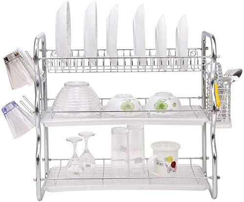 ZCZN Toplife Geschirr-Abtropfgestell, 3 Etagen, Geschirr mit 2 Abtropfbehältern, Geschirr, Edelstahl, rostfrei, Nicht für Teller, Gläser, Tassen, Besteck etc.