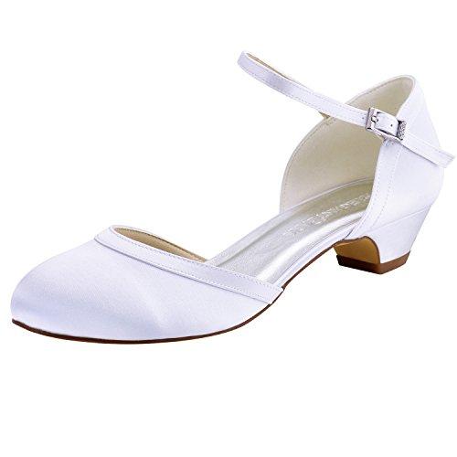 Elegante Park HC1621 Ronda Hebilla de tacón Alto Bombea los Zapatos de Danza de satén Zapatos de Boda Mujeres