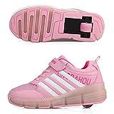 JUNJUN Zapatos con Ruedas Zapatos para Niños con Luces Vibración De Una Sola Rueda Led De Moda Deportes De Ocio(Size:30EU,Color:Rosa)