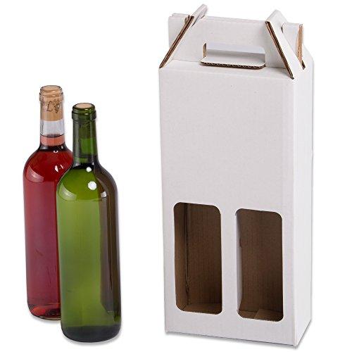 Pack de 20 Estuches para botellas de vino automontables. Caja en cartón, automontables, medida estándar. TeleCajas X20CBVB2 (x20) (para 2 botellas)