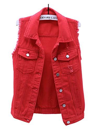 CYSTYLE Damen Jeansweste Ärmellos Frühling Sommer-Weste College Style Beiläufige Jeansweste Denim Weste mit Loch Design (Rot, XS)