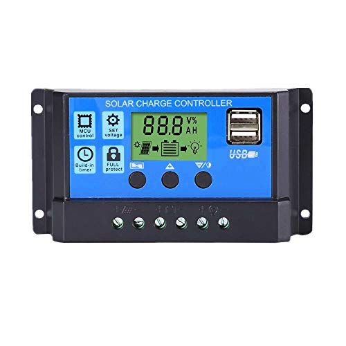 Thlevel 30A 12V/24V Solar Laderegler Solar Ladegerät Controller Solarpanel Batterie Intelligente Regler mit 5 V Dual USB Port LCD Anzeige