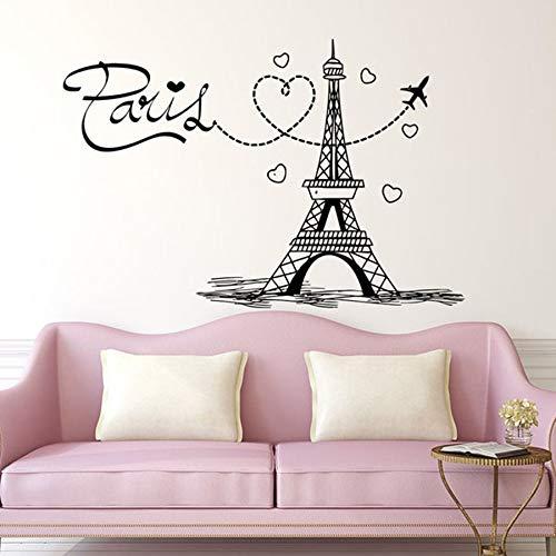 Toren muurtattoo Parijs silhouet vliegtuig vinyl muursticker kunstenaar woondecoratie muurschildering belettering Franse liefde slaapkamer slaapzaal 57x38cm