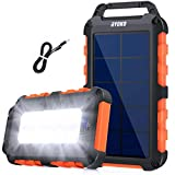 RYOKO Solar Power Bank, caricatore solare portatile da 10.000 mAh, con 2 porte USB e 10 LED di uscita, impermeabile antiurto batteria esterna di backup per campeggio outdoor per iOS Android arancione