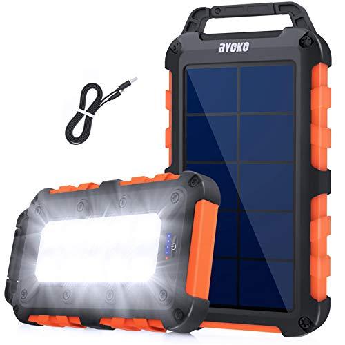 Cargador solar Power Bank 20000 mAh, carga rápida solar con 2 salidas 2,1 A, batería externa de alta capacidad con linterna LED, resistente al agua para smartphones, tablets (naranja)