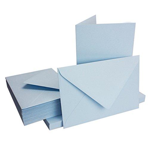 DIN B6 Faltkarten Set mit Umschlägen - Hellblau - 25 Sets - 115 x 170 mm - ideal für Einladungskarten, Hochzeit, Taufe, Kommunion, Konfirmation - formstabil - Marke: FarbenFroh®