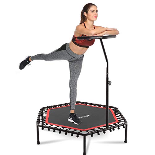 "ANCHEER Mini Trampoline Rebounder for Adults Kids Fitness, 50"" Cardio Trampolines Trainer with Adjustable Handle Bar for Indoor/Outdoor/Garden/Yoga Workout Exercise"