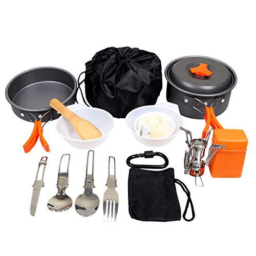 Goetland 16 Stücke Camping Kochgeschirr Set mit Mini Gaskocher abnehmbare Topfset inkl. Faltbare...