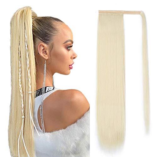 Pferdeschwanz Haarteil Extension Lang Glatt Haarverlängerunge Verlängerung Kunsthaar Blond Natürliches Ponytail Zopf Clip in Magic Paste Wrap Around Ponytail Hairpiece ca.60cm/24zoll 613# 071C