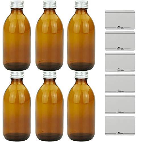 mikken 6 x Apothekerflasche 250 ml Glasflasche braun mit Schraubverschluss + Beschriftungsetiketten