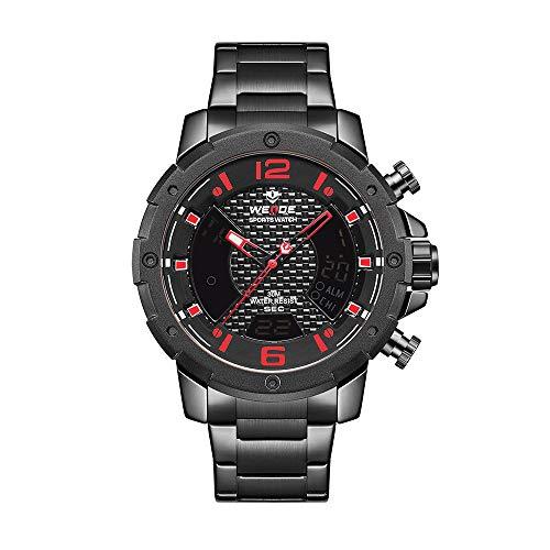 WEIDE WH8504 Reloj de Cuarzo Digital de Dos Pantallas con Dos Movimientos Reloj Deportivo de 3ATM Resistente al Agua para Negocios Reloj Luminoso de Doble Zona horaria Semana de Alarma Reloj de