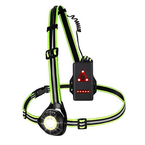 WESTLIGHT Lauflicht, wiederaufladbare USB LED Lauflampe Sport, wasserdicht, Leichtgewichtige Lampe zum Laufen, 500 Lumen, Einstellbarer Abstrahlwinkel, perfektes Licht zum Joggen, Angeln