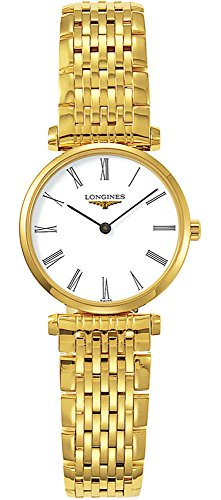 Longines L42092118 - Reloj de Cuarzo para Mujer, con Correa de Acero Inoxidable Chapado, Color Dorado
