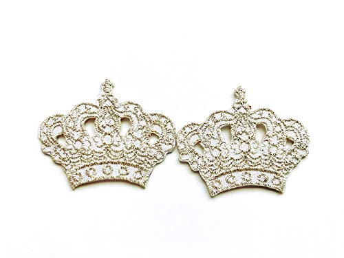 TH Set of 2 Tiny. Mini Princess Silver Crown Cute Cartoon Logo Applique Embroidered Sew on Iron on Patch for Backpacks Jeans Jackets Clothing