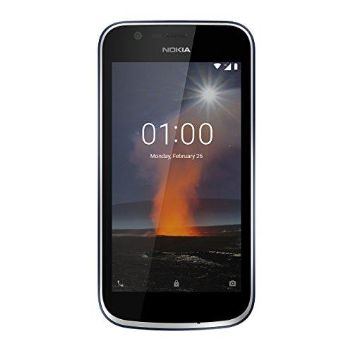 Nokia 1 - Smartphone de 4.5' (LTE, Quad-Core 1.1Ghz, Memoria de 8 GB, MicroSD de hasta 128 GB, cámara de 5 MP, Android Go), Color Azul