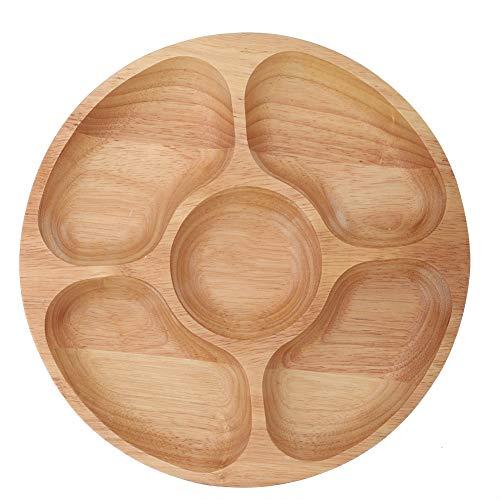 Bandeja redonda dividida, postre de madera de alta calidad, plato secundario para refrigerios, plato para uso doméstico, cocina, plato dividido para alimentos(25cm)