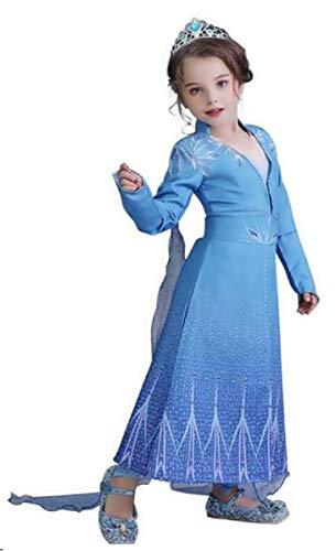 Kostüm Frozen Mädchen Elsa - Karneval - Kleid - Halloween - Deluxe - Mantel - Frozen 2 - Weihnachten - Cartoon - blau Taglia 6-7 anni blau