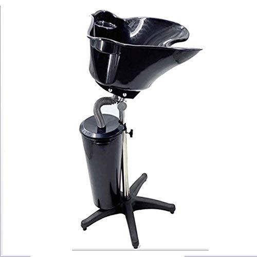 Bac lave tête coiffure Portable Shampooing Évier Salon Coiffure des cheveux Bol Lavage à contre-courant Mobile, réglable en hauteur avec tuyau de vida