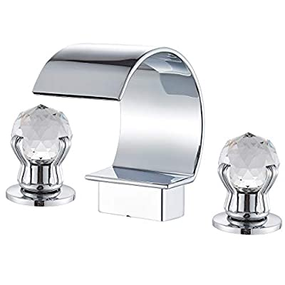 Senlesen Commercial Chrome Waterfall Spout 3 Holes Two Crystal Knobs Widespread Bathroom Sink Faucet