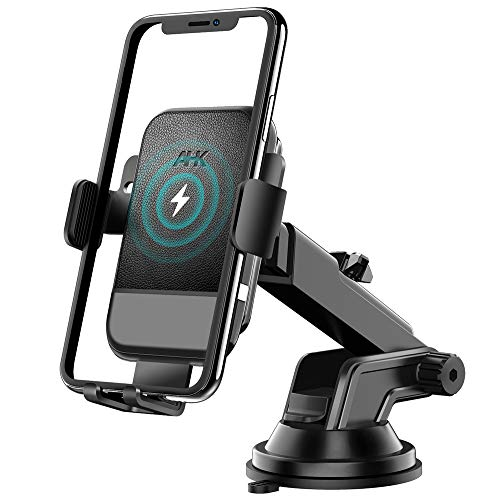 AHK Wireless Car Charger,10W Qi Fast Charging Auto-Clamping Car Mount,Windshield Dash Air Vent Phone Holder Compatible iPhone 11/11 Pro/11 Pro Max/Xs MAX/XS/XR/X/8/8+,Samsung S10/S10+/S9/S9+/S8/S8+
