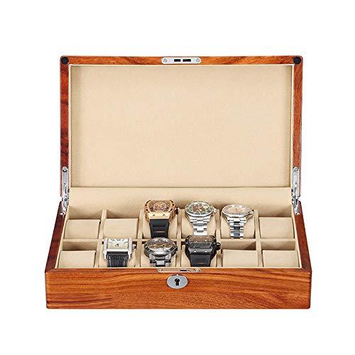 FACAIA Caja de Reloj de Madera Maciza de 12 Ranuras Organizador de Vitrina Almohada de Reloj extraíble Forro de Tela de Terciopelo con Cerradura (Color: Blanco)