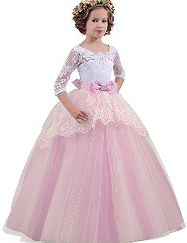 NNJXD, Niñas,reunión Muy concurrida, Bordado, Baile de graduación, Vestido, Princesa, Vestido de Novia tamaño(140) 9-10 años Rosa