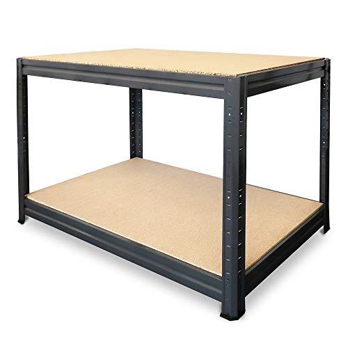 HEMMDAL Werkbank Typ L - Arbeitstisch 160x60 cm - Fachlast 375 kg - 12 mm Spanplatten - optimale Arbeitshöhe 87 cm - Made in der EU - Schnelle Montage - Werktisch für Werkstatt, Industrie & Garage