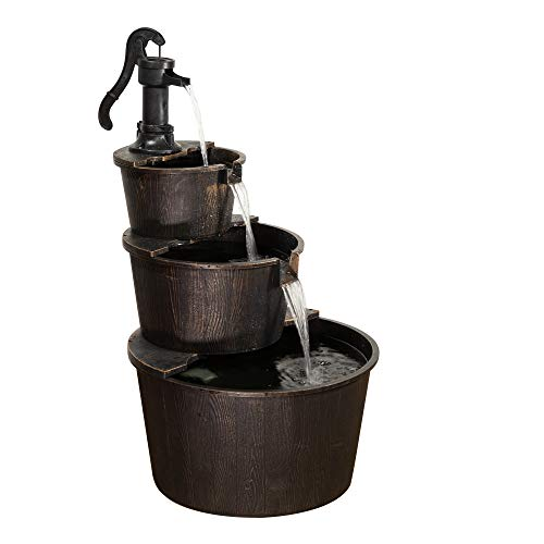 Alpine Corporation TEC234BR Alpine 3-Tier Rustic Outdoor Waterfall for Garden, Patio, Deck, Porch-Yard Art Decor Pump Barrel Fountain, 41', Beige