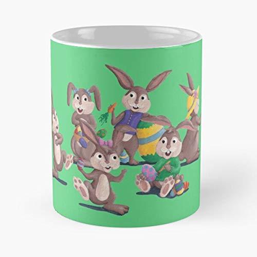 Ameliaart Walmsley Easter Amelia Bunny Bunnies Conejos Amelia_Walmsley Best Taza de café de cerámica de 325 ml Eat Food Bite John Best Taza de café de cerámica de 325 ml