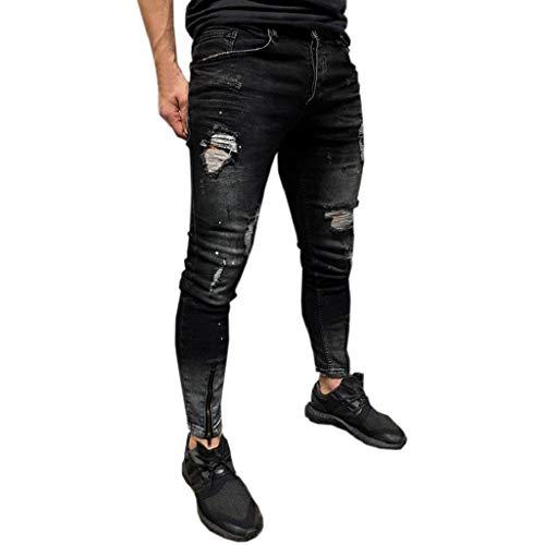 QUICKLYLy Pantalones Vaqueros Hombre Rotos Pitillo Elasticos Skinny Ajustados Trekking Casual Chandal Montaña Moto Slim Fit Modernos Chaqueta,Flacos Jeans Rasgados Desgastados(Negro,L)