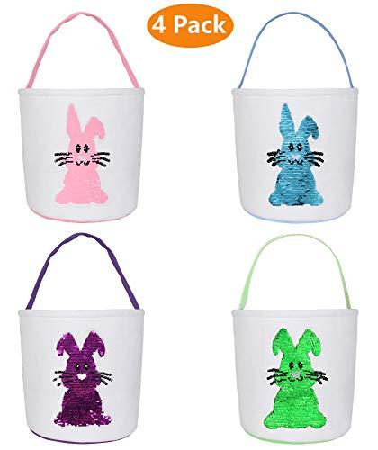 Pasen Bunny Tassen, Pasen Bunny Manden Konijn Oren Ontwerp Jute Doek Tote Tassen voor Kinderen Eieren Jagen, Snoep en Geschenken Draag Emmer bij Pasen Party Large Basket 4 Pack a