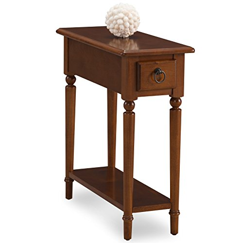 Leick Coastal Narrow Chairside Table with Shelf, Pecan