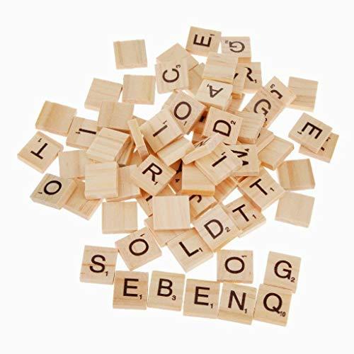 Hilai 100 alphabet en bois Scrabble tuiles noires lettres & chiffres pour l'artisanat bois S